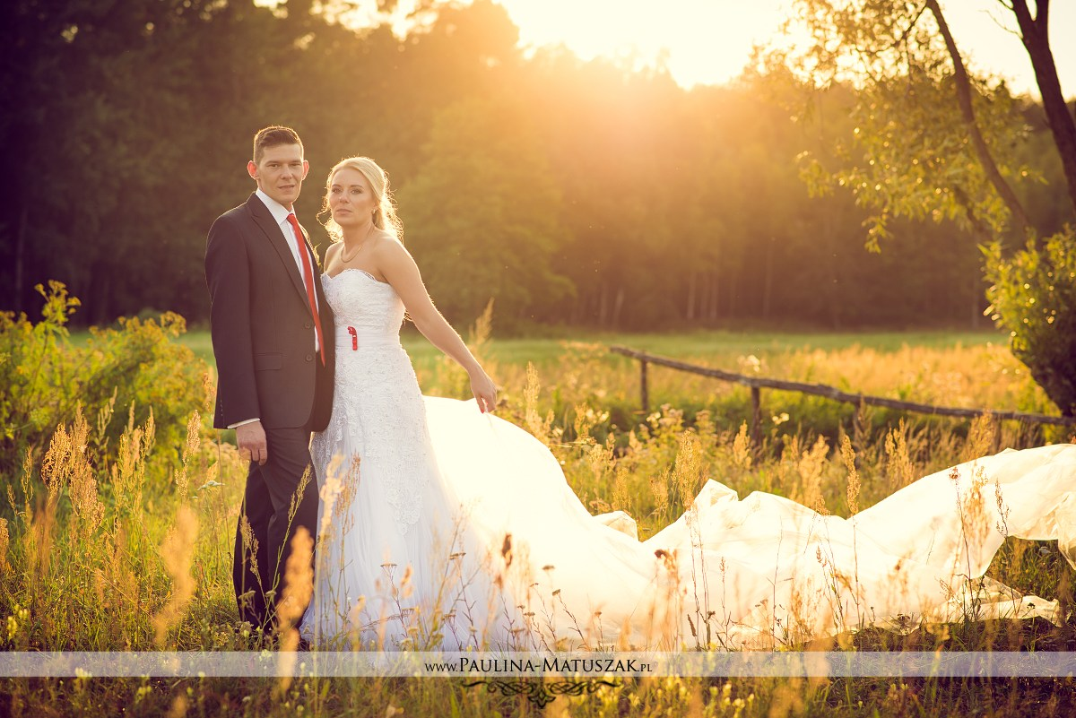 Sesja ślubna plenerowa zachód słońca